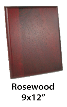 ROSEWOOD PLAQUES LASER DECORATED (PLATE $ 5.00)