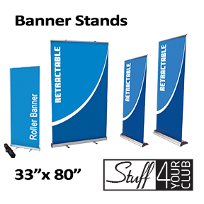 STANDARD ROTARY 10MIL VIYNL INDOOR BANNER WITH RETRACTABLE STAND (33X80)