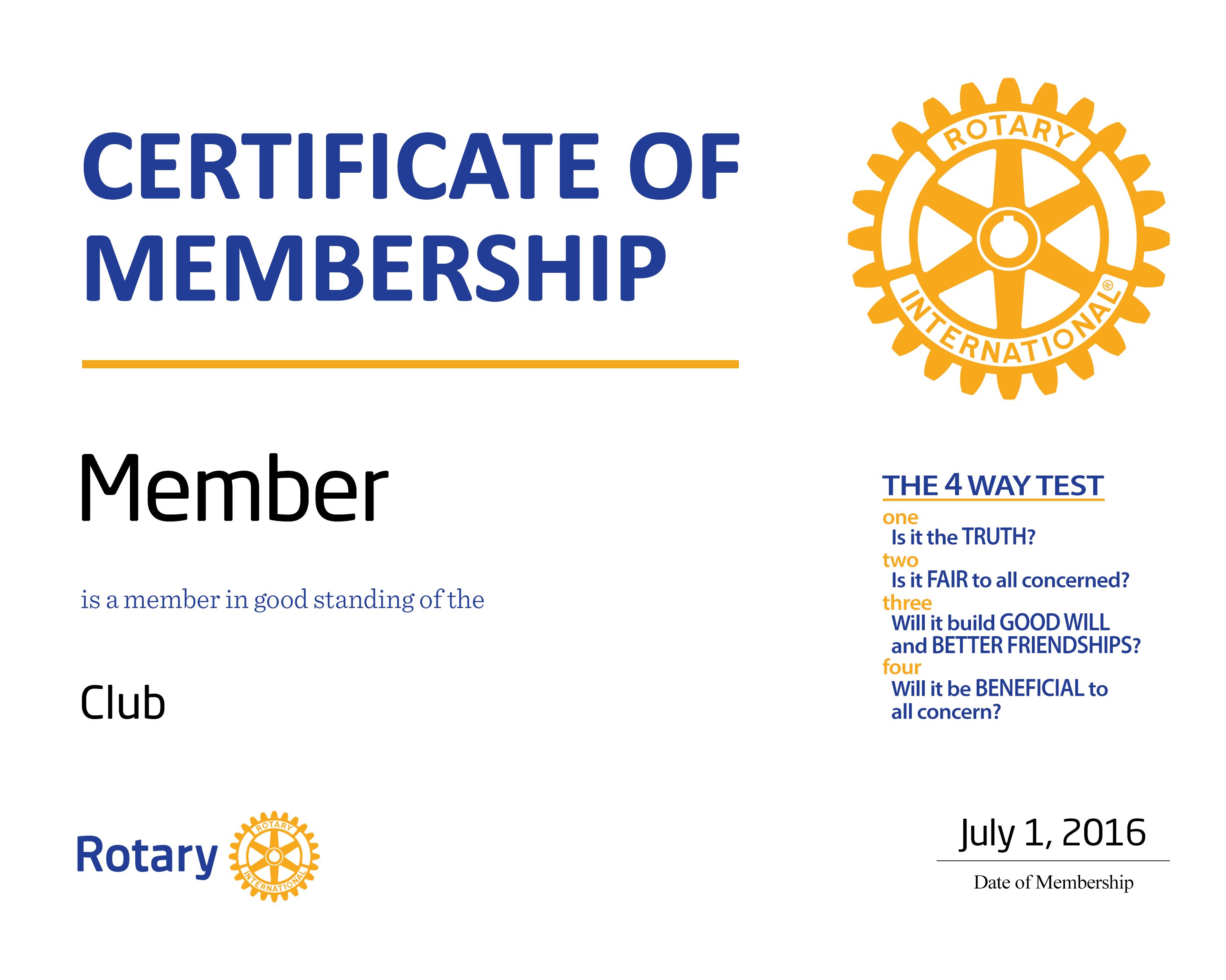 NEW MEMBER (CERTIFICATE, 4-WAY & OBJECT)