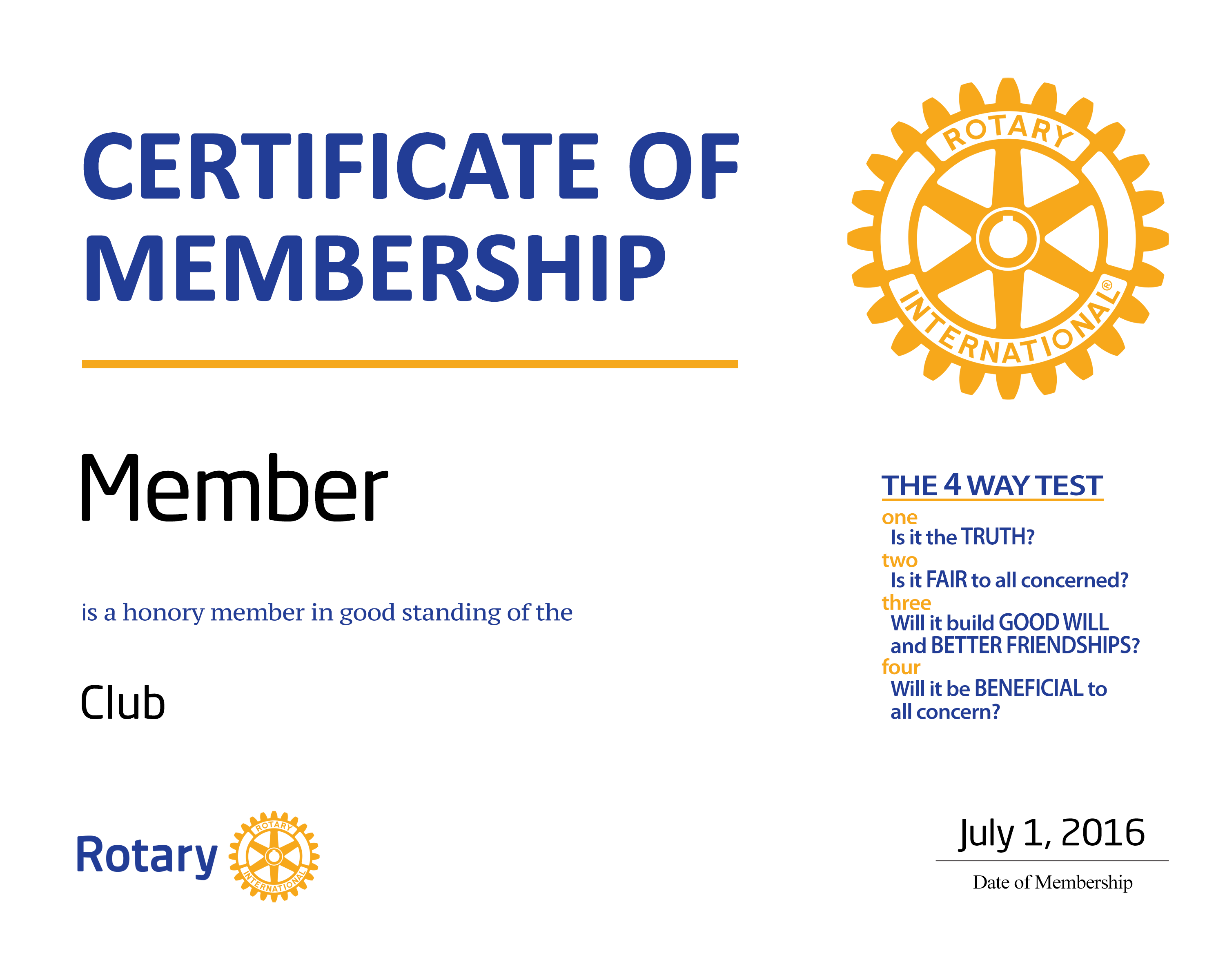 NEW MEMBER CERTIFICATE (HONORARY)