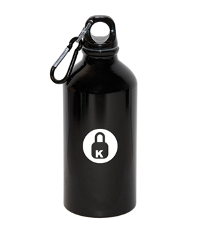 500 ML (17OZ.) ALUMINUM WATER BOTTLE WITH CARABINER